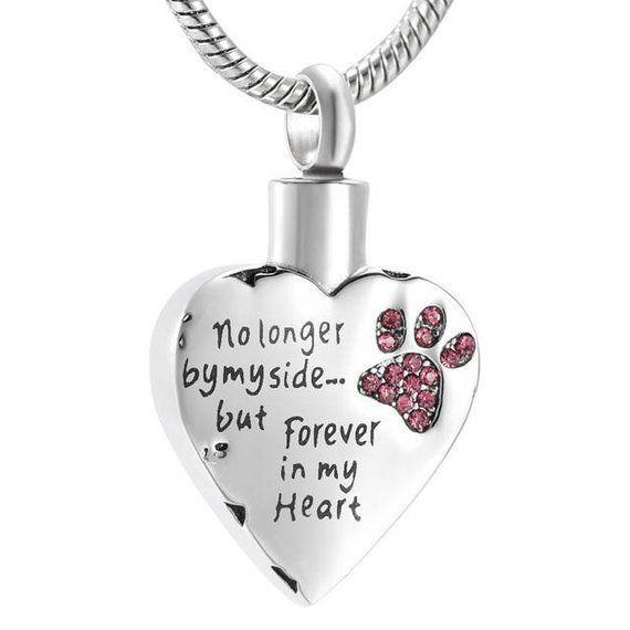 Dog Paw Love Miss Flower Heart Cremation Memorial Ash Urn Pendant