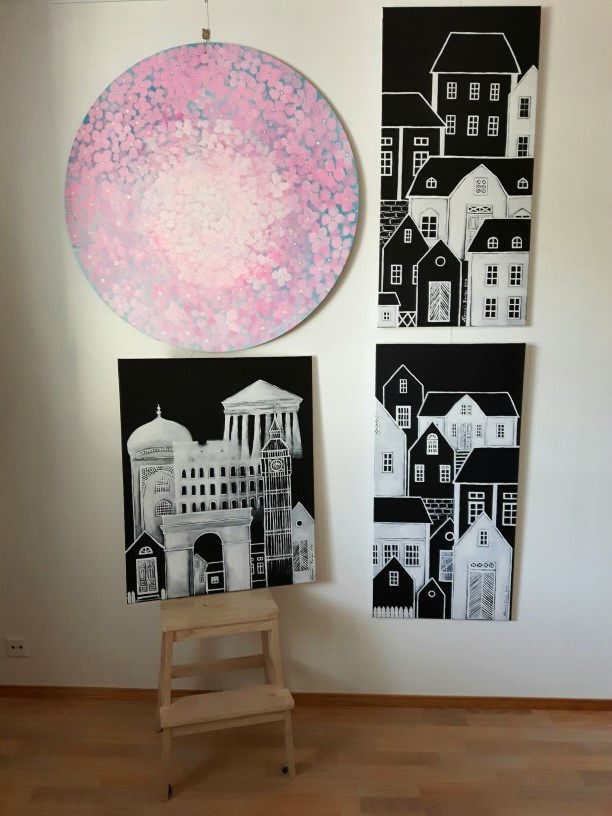 Paintings by Hammi´s Design. Pink <3 black and white <3