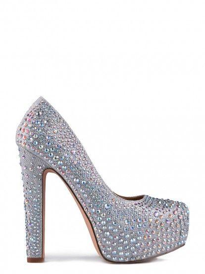 Pantofi de damă cu toc înalt TENDENZ - argintiu