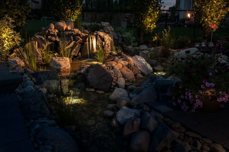 Our water features look great at night too!