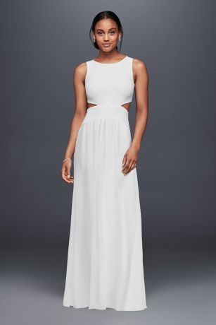New A study in minimalist chic this clean and modern wedding dress features sleek cutouts and