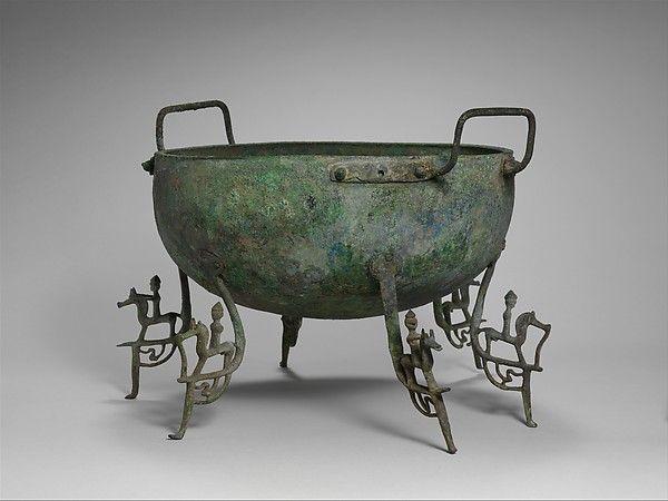 Bronze basin with six legs