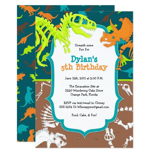 10 x invitations dinosaur jungle