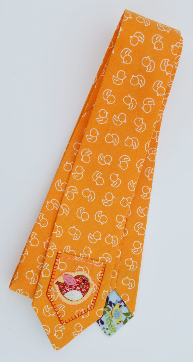 Red Robbin on Gold - Women's Neck Tie by OOLLOOnest on Etsy