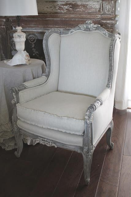 French Louis Xv Style Painted Wing Chair Upholstered In An