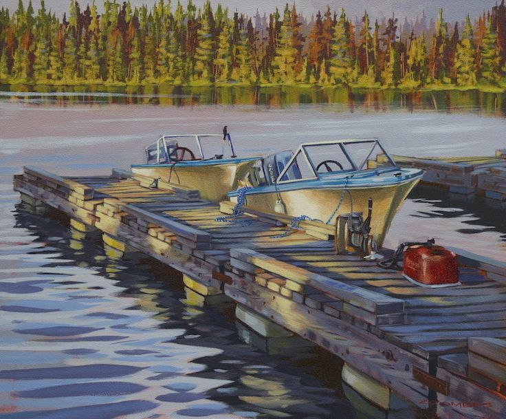 """""""Peaceful Morning Start"""" by Bryan Coombes. Canvas - Gallery wrap 1 - 1/2 Acrylic Paintings. #art #painting #artwork #canvas #marine #boats #fishing #lake #landscapeart #seascape"""