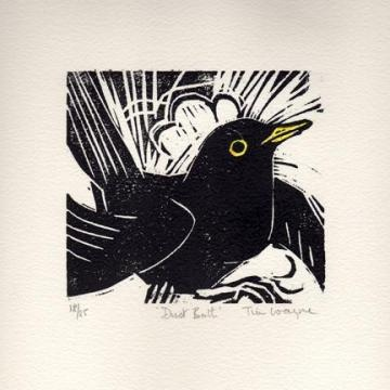 black bird lino cut