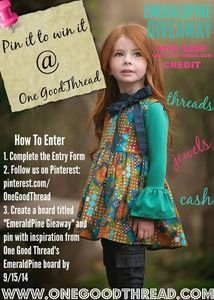 Join us in our $200 Shopping Spree Pinterest Giveaway in celebration of the Persnickety EmeraldPine pre order release!   1. Like us on Facebook!   2. Click this link to complete our entry form: on the OneGoodThread.com Newsfeed:http://www.onegoodthread.com/blog/pin-it-to-win-it-persnickety-emerald-pine-at-one-good-thread/ or mobile entry here:http://bit.ly/1vVhz2T   3. Follow One Good Thread on Pinterest.   4. Create a board titled EmeraldPine and pin from our website ...