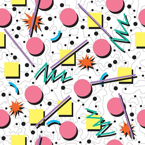 Vector Seamless 80s Or 90s Chaotic Background Pattern Vector Art Illustration 90s Pattern Background Patterns Pattern Illustration