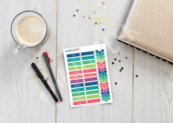 dated colorful flags and mini hexagone functional by ConfettiGeek