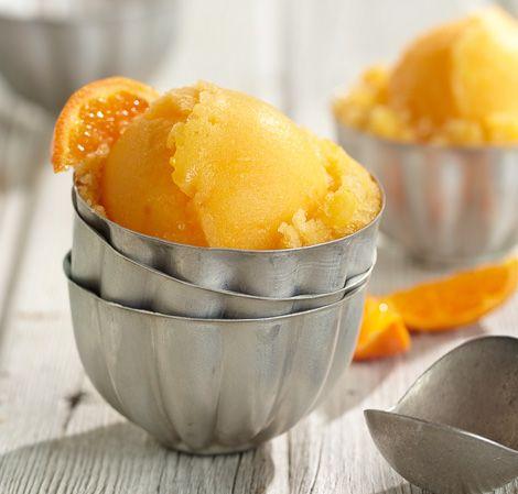 Orange Sorbet   Vitamix 2 oranges, peeled, halved 2 tablespoons (20 g) sugar or other sweetener, to taste 4 cups (960 ml) ice cubes