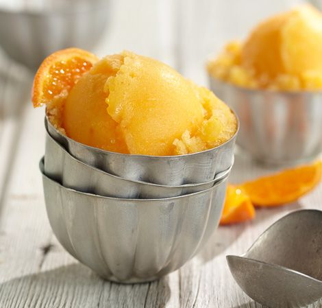 Orange Sorbet | Vitamix 2 oranges, peeled, halved 2 tablespoons (20 g) sugar or other sweetener, to taste 4 cups (960 ml) ice cubes