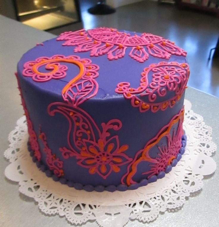 Purple Paisley & Henna patterned cake #icingonthecakelosgatos