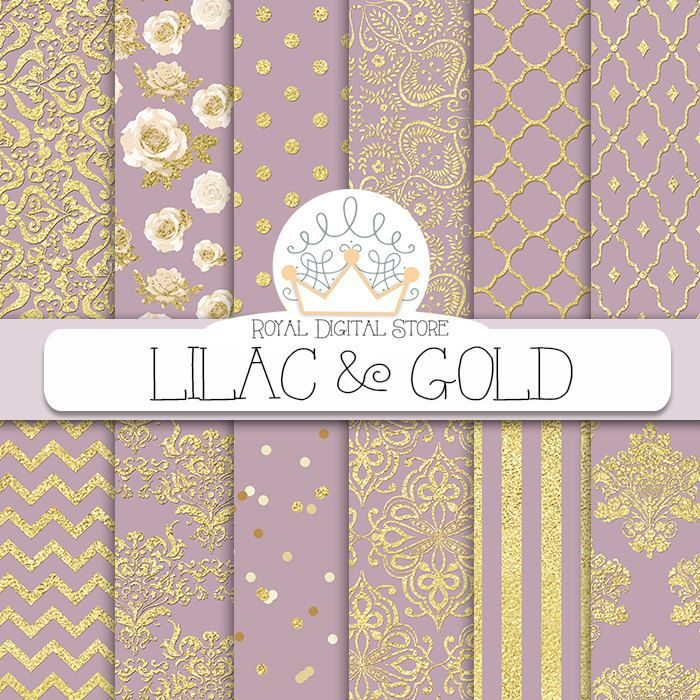 "Purple digital paper: ""LILAC & GOLD"" with purple and gold background, purple scrapbook paper, gold patterns, gold damask for scrapbooking #gold #damask #digitalpaper #scrapbookpaper #glitter #texture #romantic #floral #planner"