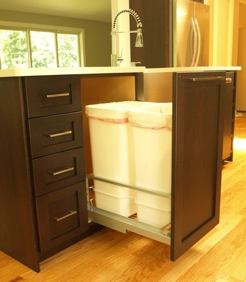 We added this feature to our new kitchen when we designed it...pull out trash can!!! Will always look much cleaner!