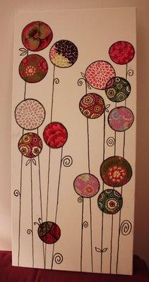 Tableau de fleurs en tissu