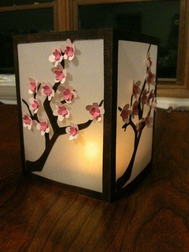 Beautiful DIY cherry blossom luminary using Cricut dies (by Kathy's Krafts).