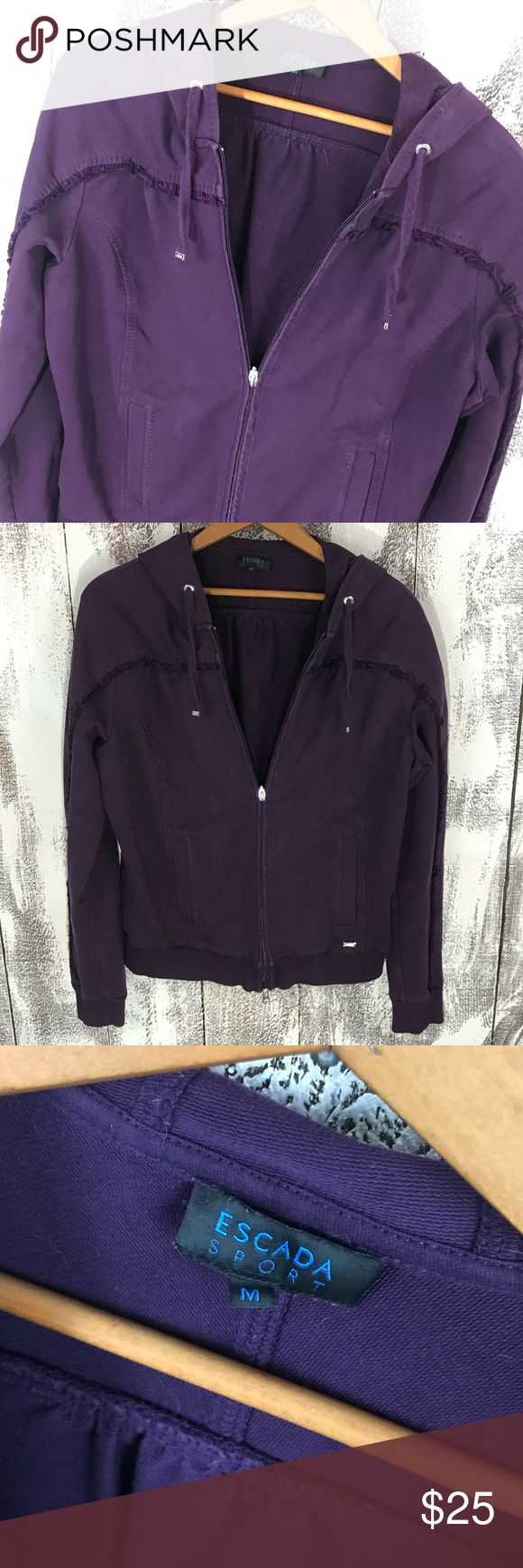 """Escada Sport Zip Ruffle Hoodie No stains or holes. Across underarms approx 22"""" and length approx 23"""". Escada Jackets & Coats"""