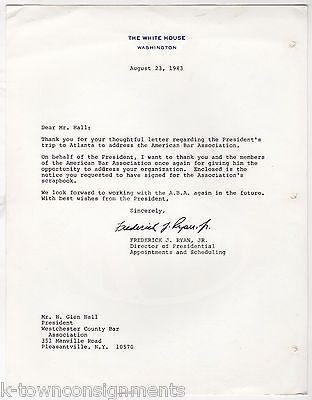 FREDERICK RYAN WHITE HOUSE SCHEDULING DIRECTOR AUTOGRAPH SIGNED LETTER 1983