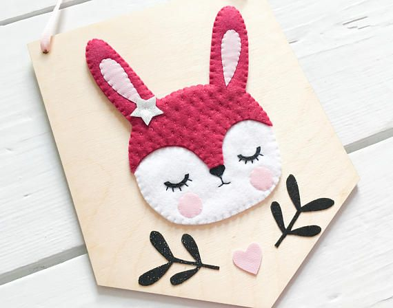 Woodland rabbit banner banner wall hanging