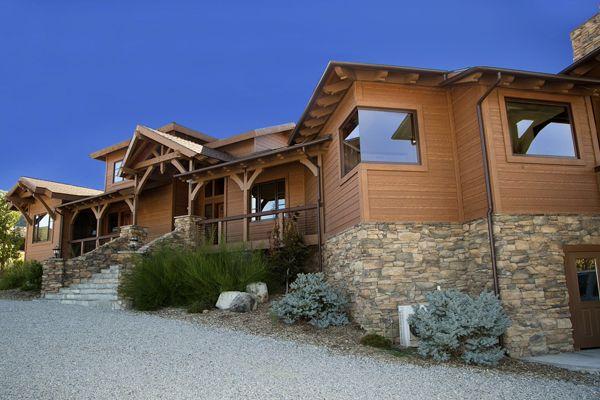 RusticSeries Lap Siding on Allura Fiber Cement. Color is Mountain Cedar. Architecture Home Design Inspiration Desert Home Beautiful