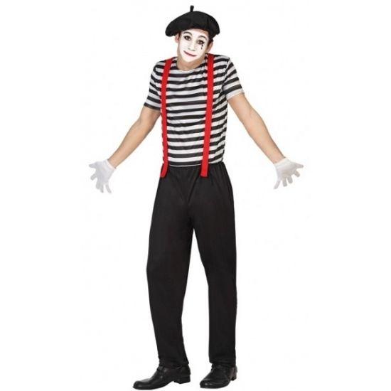 Mime verkleedkleding voor mannen  Mime clowns heren kostuum. 3-delig mime kostuum voor heren dat bestaat uit de broek het shirt en het hoedje. Materiaal: 100% polyester.  EUR 24.95  Meer informatie