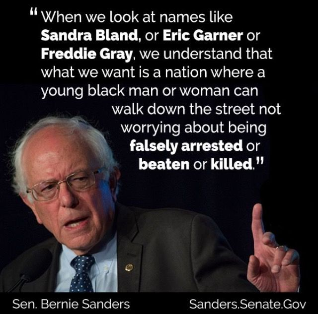 Bernie Sanders on Black Lives Matter He is such a wise human being with wonderful ideas. If you haven't checked him out, you should look into him. I did, and he's got my vote!