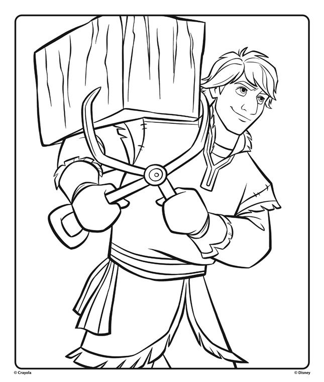 Disney Frozen Movie Fans Can Color Kristoff Carrying Ice On This Frozen 2 Coloring Page Download P Princess Coloring Pages Frozen Coloring Princess Coloring