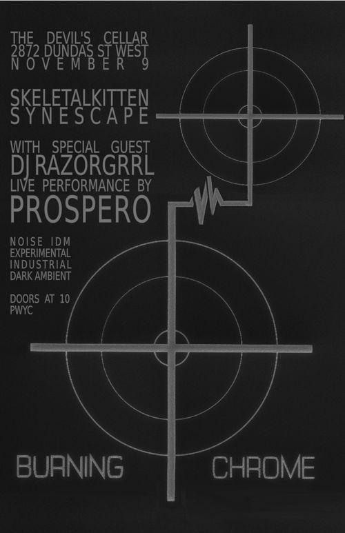 Event poster for Burning Chrome WSG Prospero & Razorgrrl