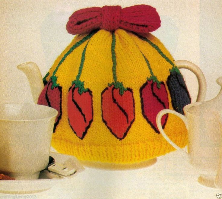 VINTAGE TEAPOT COSY TULIP'S PATTERN GREAT FOR GIFTS FETE- 8PLY KNITTING PATTERN