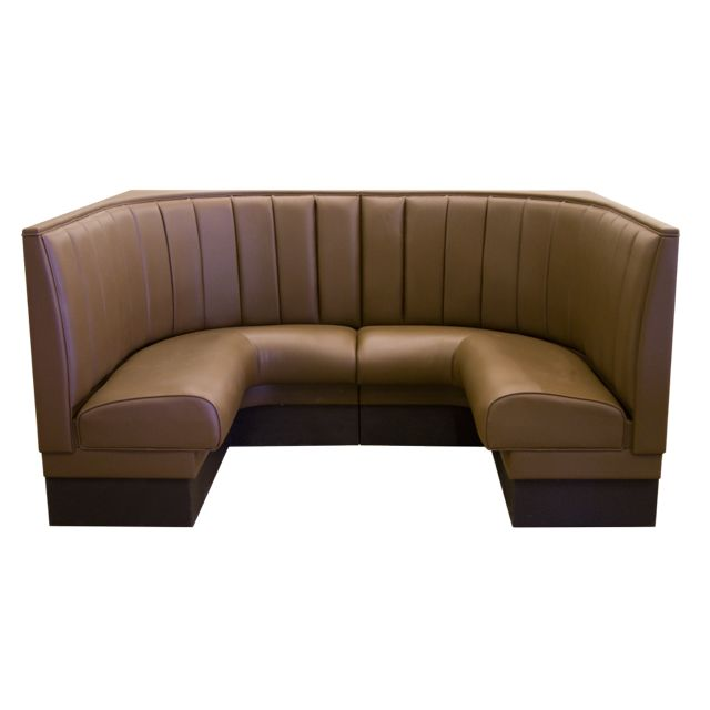 1/2 Corner 12 Channel Back, Standard Seat Style Booth - LIFETIME WARRANTY! Availability: Build to Order. Minimum order of 1. Our standard upholstered booth delivers style and upper-class comfort, in a versatile booth that can be customized to fit any restaurant theme. Upholstery: Upholstered seat back, seat, standard base, both end caps and top caps. Matching welt cord on all caps and seat(s). Upholstered outside back available when specified, at an additional cost.