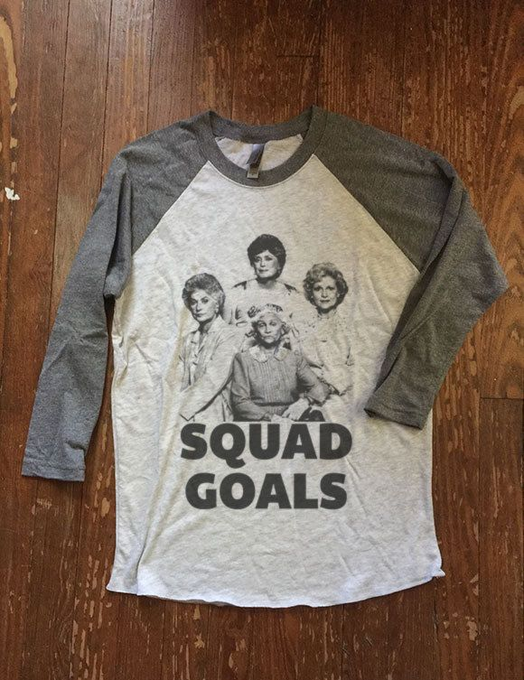 squad goals :) Baseball style Unisex Raglan Ringer Tee for men / women These shirts are unisex/mens sized so women may prefer to order a size down for a closer fit.  Please visit our website for more designs as well as sizing for kids and babies. - See link in shop bio.