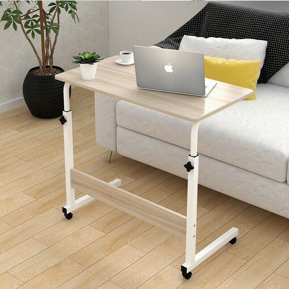 Computer Desk Laptop Table Stand Adjustable Portable Trolley Table Sofa Bed Tray In 2021 Laptop Table For Bed White Sofa Table Simple Bedside Tables