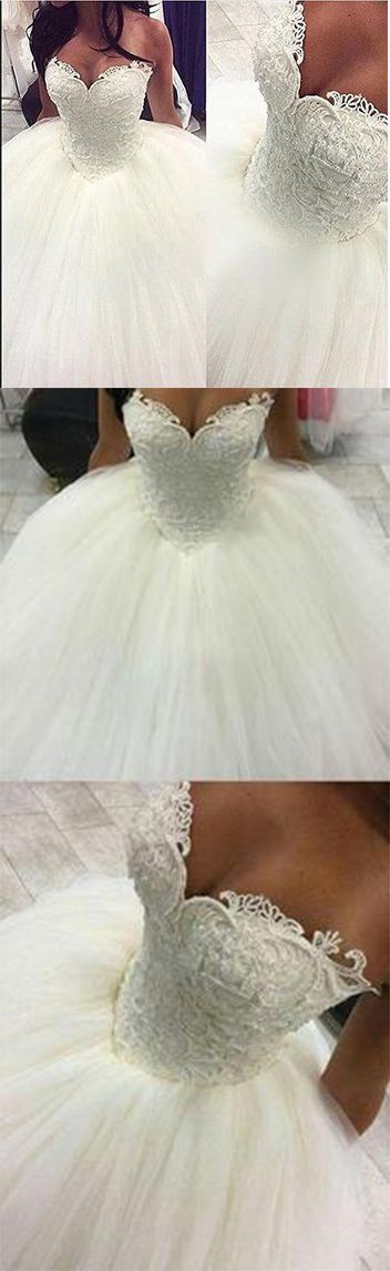 Gorgeous Pearls Ball Gown Wedding Dresses 2017 Sexy Sweetheart Sleeveless Lace A…