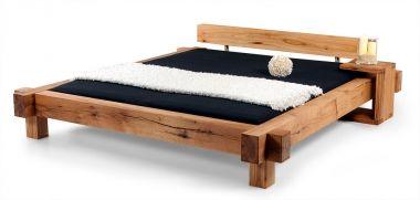 MAMMUT Doppelbett/Massivholzbett Sumpfeiche geölt 200 x 200 cm | unbehandelt | mit Balkenkopfteil DETAIL_IMAGE