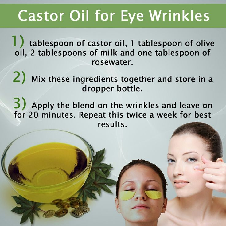 Castor Oil for Eye Wrinkles.  Reapply the castor oil to your under-eye area at night, after cleansing your face, for extra moisturizing benefits, if needed.