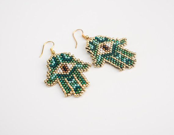 Hamsa talisman, Hamesh, al-kaff, Hand of Fatima, oriental brick stitch green amulet earrings.