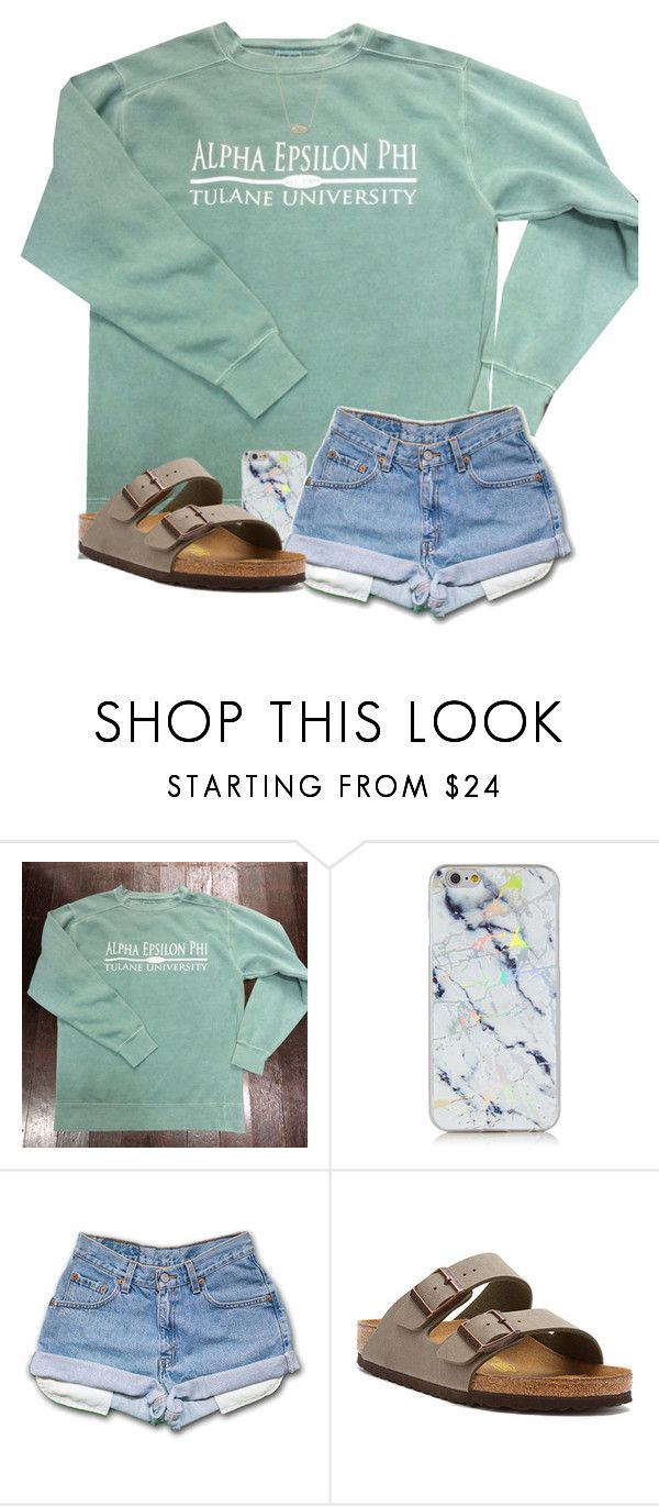 """im into you (:"" by arieannahicks on Polyvore featuring Comfort Colors, Birkenstock and Kendra Scott"