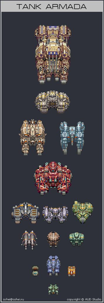 ^ My old work. These sprites were created for a shoot'em'up game of A.U.D. Studios (www.audstudios.com). So copyright goes to them. As you can see above - an uderwater units. A submarine ...
