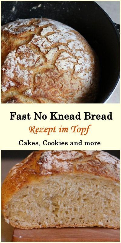 Rezept für Fast No Knead Bread - Schnelles Brot im Topf gebacken #brot #backen #brotimtopf