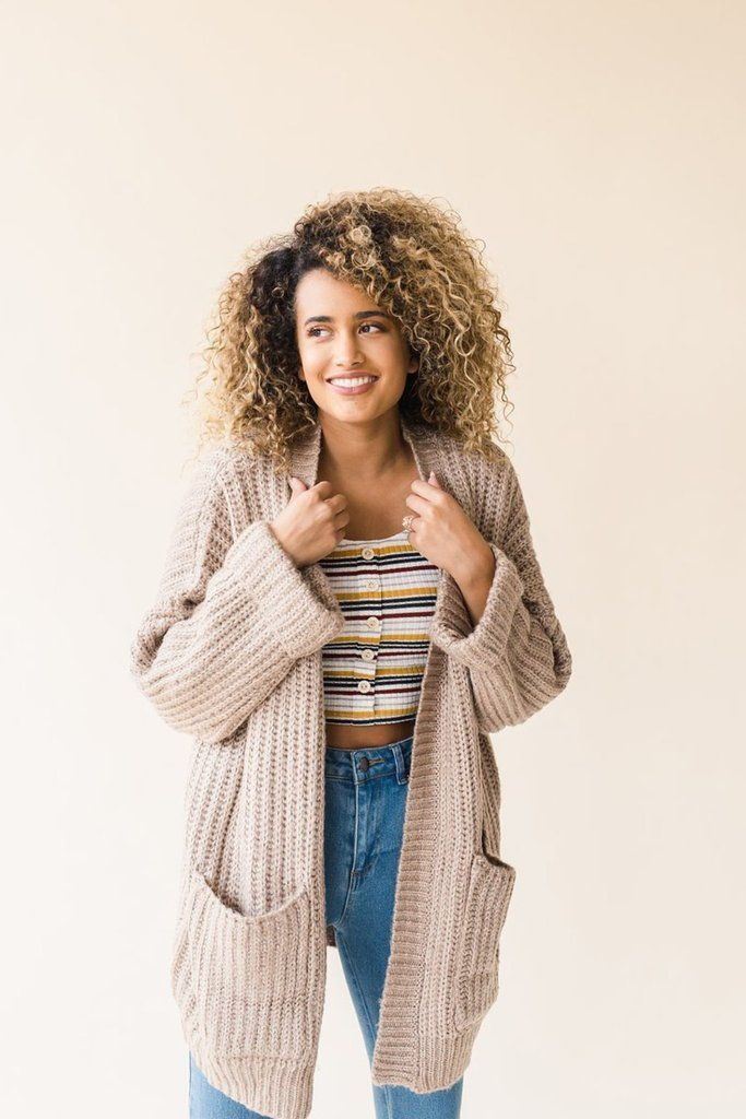 514410a08331d3 Classic chunky knitted material with cuffed long sleeves and large front  patched pockets. Open cardigan front. Oversized slouchy fit. Model is wearing  size ...