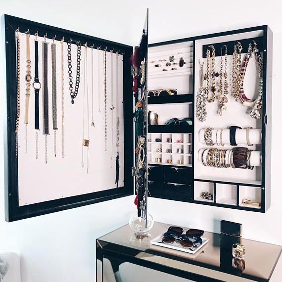 Pin By Herb Garden Ideas Diy House On Jewelry Organizer Diy Wall Mount Jewelry Organizer Black Mirror Frame Frames On Wall