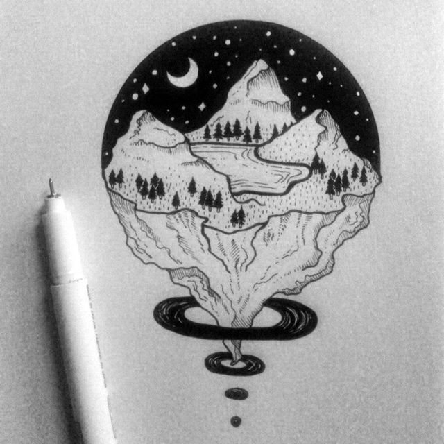 #blackwork #iblackwork #linework #blackflashwork #tattoopins #illustration #landscape #arts_help #arts_gallery #onlyblackart #drawing