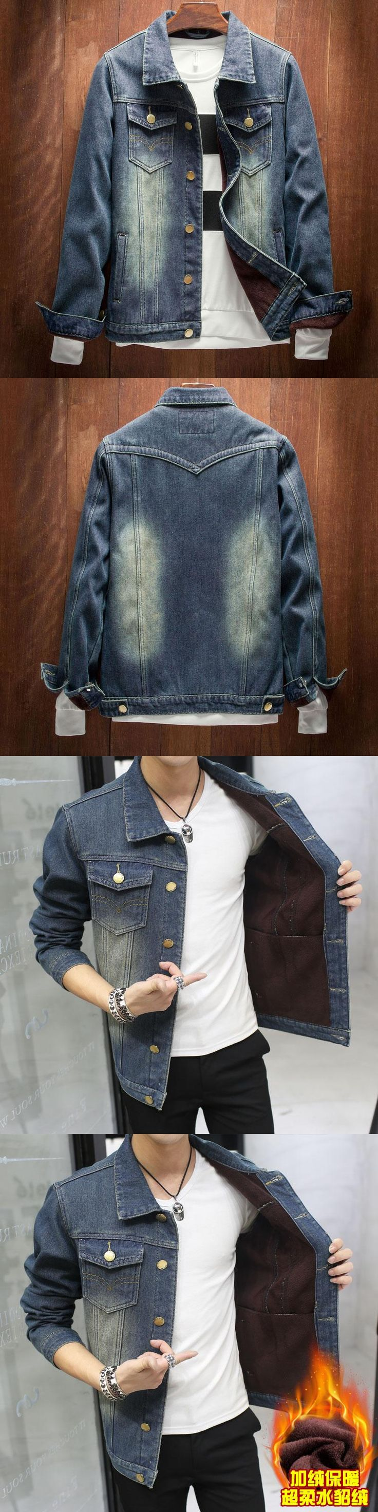 Cheap wholesale 2016 new Cowboy denim jacket coat plus velvet thickening male han edition cultivate one's morality