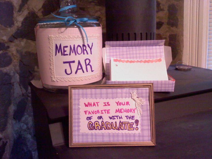 This is a Memory Jar for our daughter's Graduation Party.Decorate a cookie jar. I framed the small sign that reads: What is your favorite memory of or with the Graduate? I went one step further, I have punched holes in the index cards before decorating them, so that when the party is over I can make a book for her to take to college. Hoping this will help with missing home, reading the nice things family and friends share.