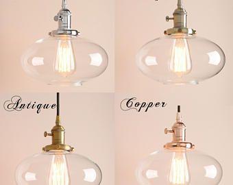 Vintage / industrieel plafond licht pendant Lamp glas globe. Antieke retro Messing koper chroom goud brons / Edison lamp / kroonluchter moderne