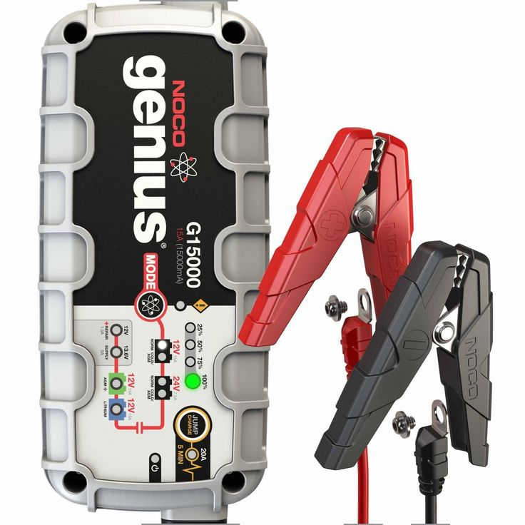#1: The G15000 is a 15-amp 12V and 24V portable automatic car battery charger with engine starter designed to fully charge AGM and deep-cycle batteries.