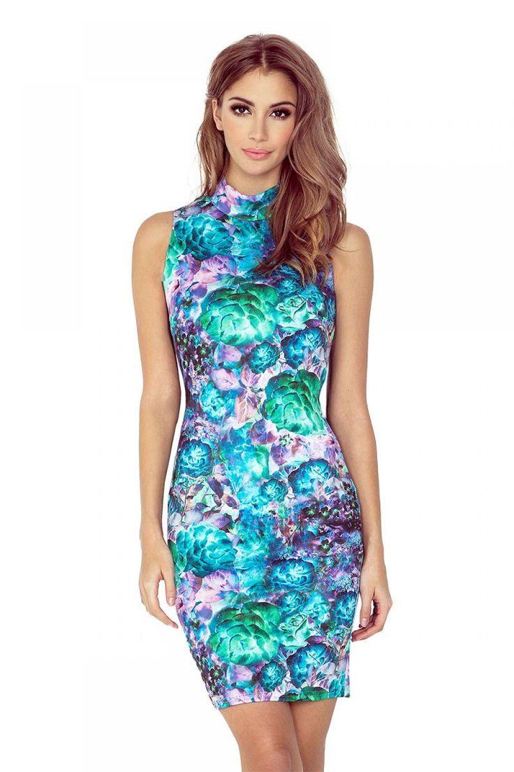 Αμάνικο φλοράλ μίνι φόρεμα με δαντέλα.95% Polyester 5% Spandex