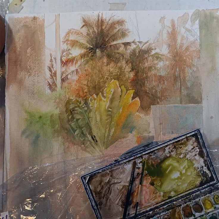 Work on the background trees. Add some highlights and those banana leaves will  pop out. #watercolor #watercolorpainting #bali