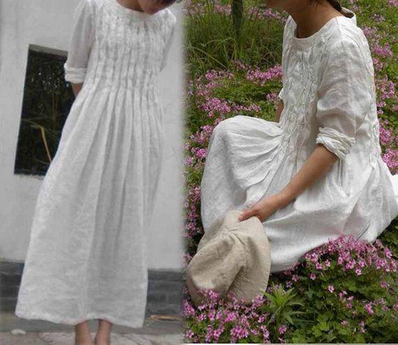 124---Hand Ruching Maxi White Ivory Linen Tunic Dress,Handmade to Measure, Wedding Dress, Women's Hand Stitching Pleated Maxi Dress.